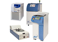 Peripheral Dicing Equipment, including wafer mounter, wafer wash, tape curing and coolant/re-circulation systems.